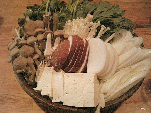 貝鍋の野菜類
