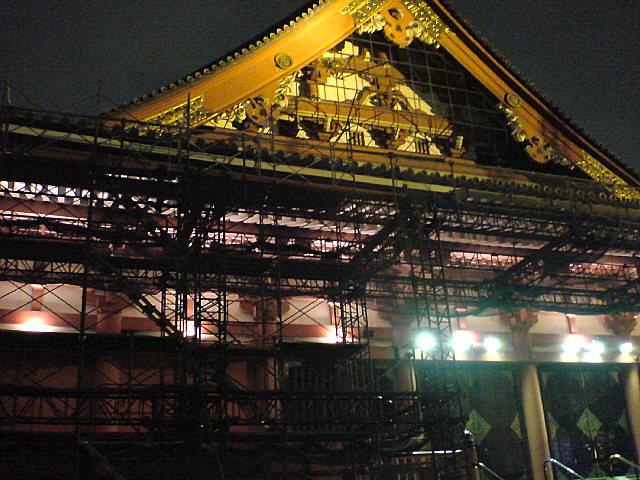 浅草寺本堂改修工事中