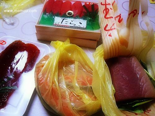 たらこ、筋子、鮭、マグロ