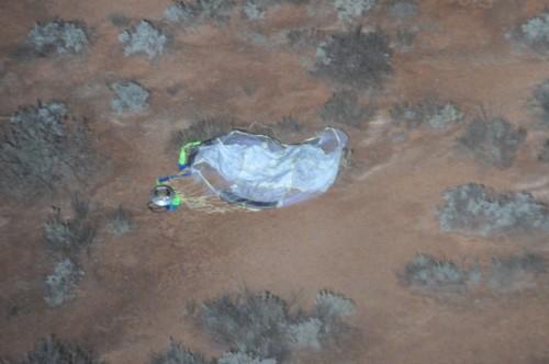 発見したカプセル本体とパラシュートの画像