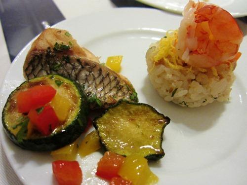 魚のポワレレモンバターソースとアナゴのレモン寿司