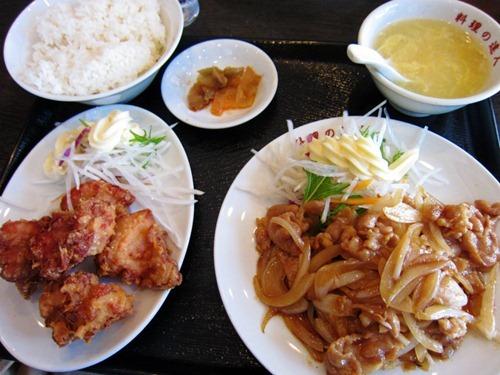 鶏唐揚げと生姜炒め定食