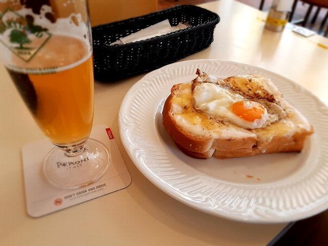 クロックマダムと「PERONI」という名のイタリア製のビールでブランチ