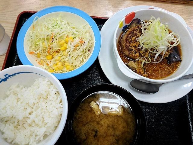 茄子とネギの香味醤油ハンバーグ定食