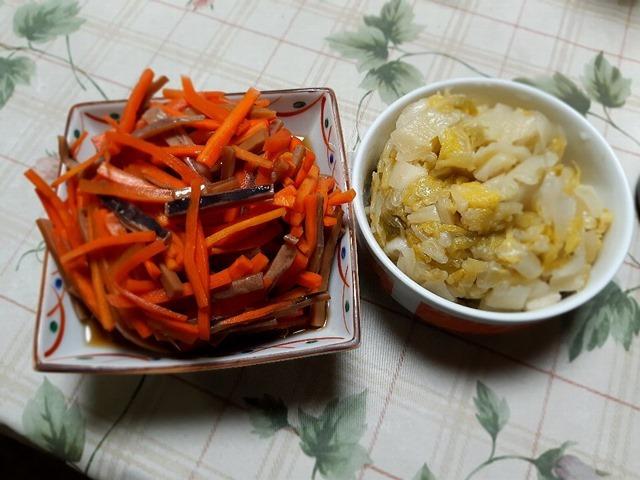 いかにんじんと白菜の漬物の油炒め