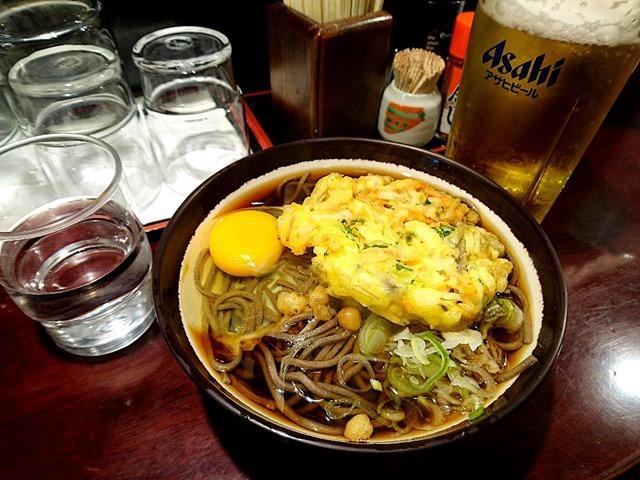 「天ぷら玉子そば」で一杯