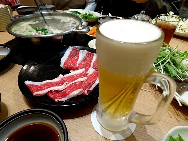 牛バラ肉のしゃぶしゃぶとビール