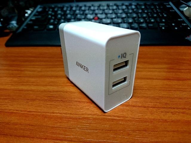 Anker24W2ポートUSB急速充電器【PowerIQ&VoltageBoost折畳式プラグ搭載】(ホワイト)A2021121