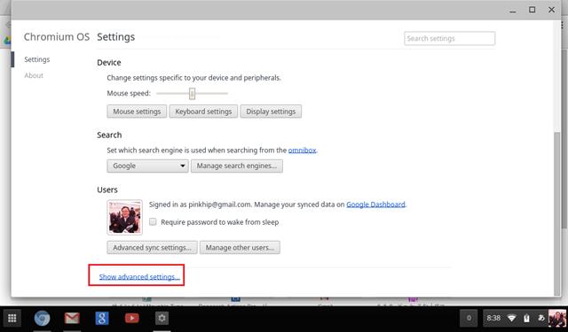 設定(Setting)の画面でShow advanced settings(詳細設定を表示)をクリックする