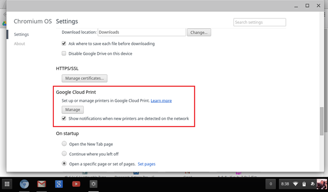 設定(Setting)画面でGoogle Cloud Printを開こう