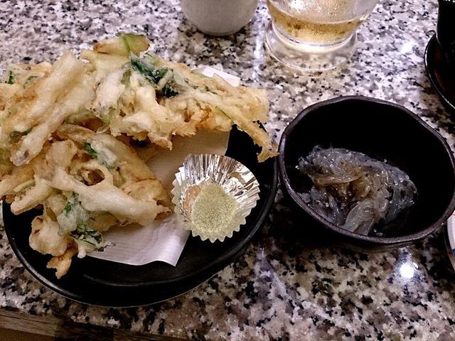 白魚の天ぷらと生しらす