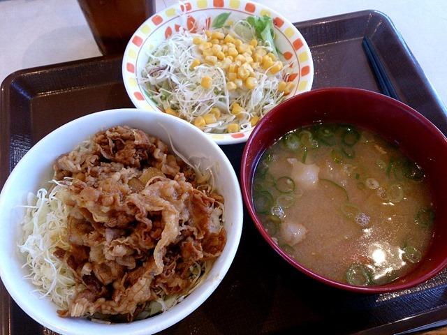 牛丼ライトととん汁とサラダ