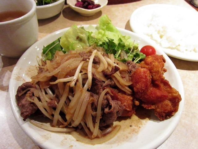 牛生姜焼き&唐揚げ定食