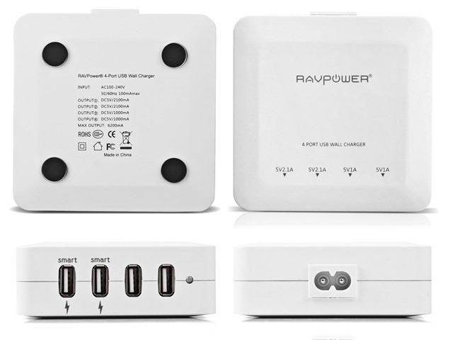 RAVPower_30W/6.2A_4ポート_USB急速充電器_RP-UC07 (ホワイト)