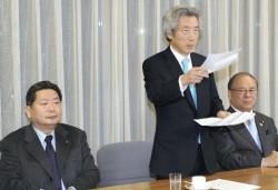 「郵政民営化を堅持し推進する集い」で発言する小泉元首相(12日、東京・千代田区の自民党本部で)